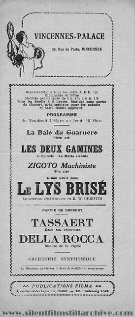 Vincennes Palace Program for March 4th, 1921