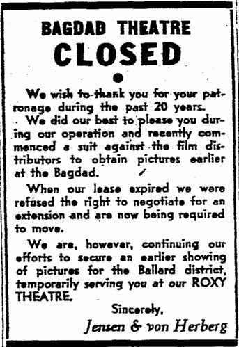 1947 closing announcement