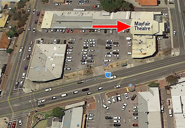 Mayfair Cinema and Gardens  Canning Highway, Palmyra, WA - Elevated view today.