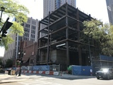 <p>The new structure that will house the lobby and administrative offices is framed in as of April 2021.  The additional floors that will house the hotel are still on hold due to pandemic uncertainties.</p>