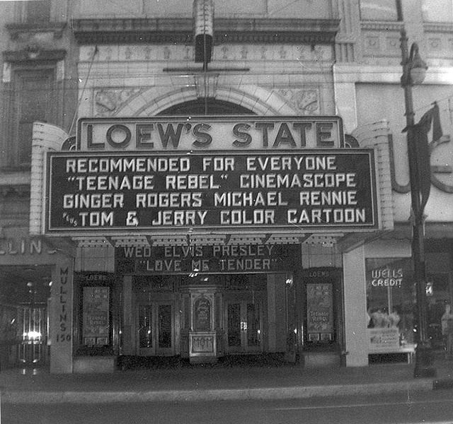 Loew's State marquee in 1956