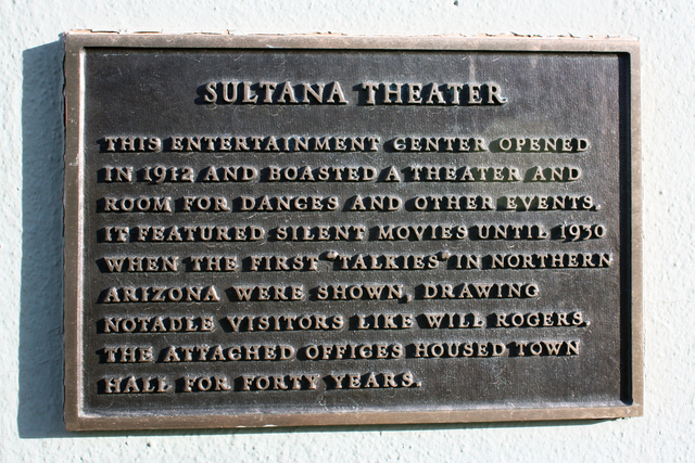 Sultana Theatre, Williams, AZ - plaque