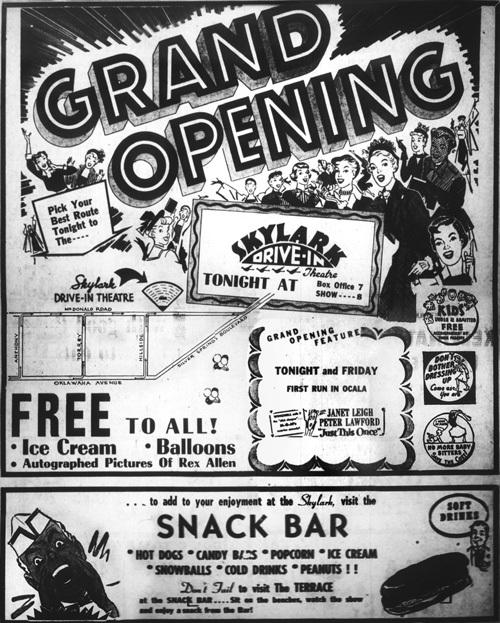 Skylark Drive-In Grand Opening Ad