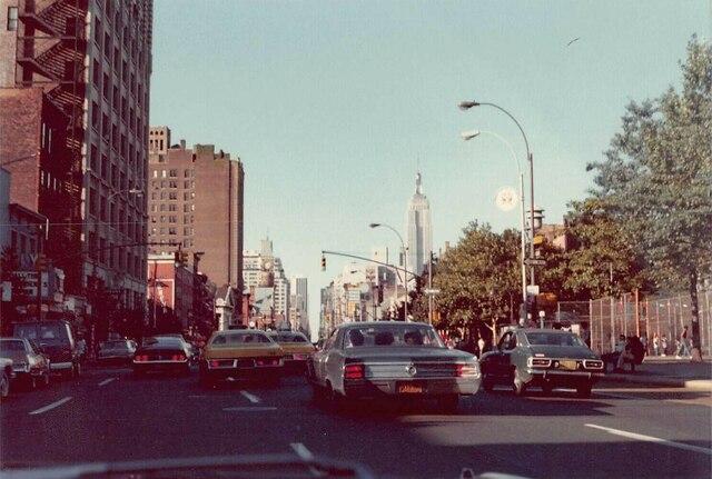 Waverly marquee far left, Summer 1976 photo courtesy Al Ponte's Time Machine - New York.