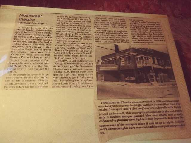 Newspaper article about the Main Street Theatre courtesy Terrie N Mickey Dishman.