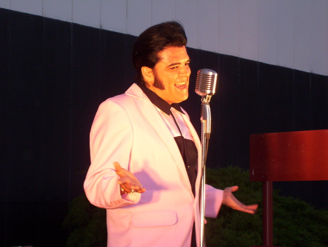 "Elvis tribute artist Rick ""Elvis"" Saucedo at the Midway Drive-In June, 2011"