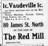 """[""""Early advertisement for the Red Mill Theatre.""""]"""