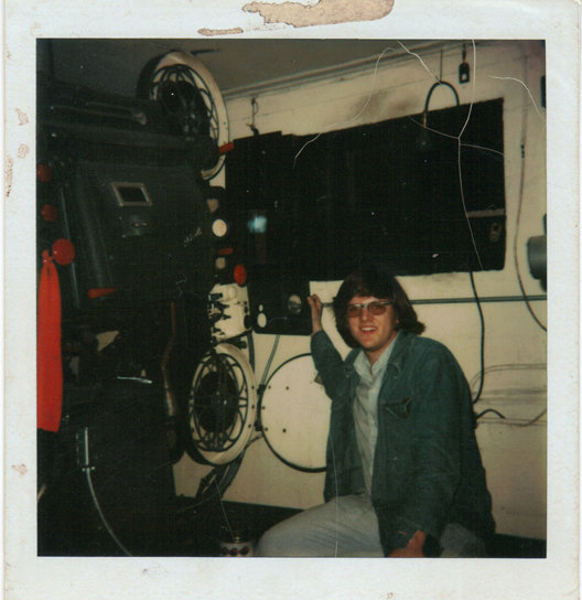 Tim Reed at Sky-Vue D/I booth, 1978