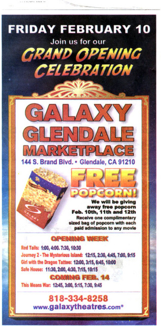 Galaxy Glendale Marketplace Grand Opening Advertisement