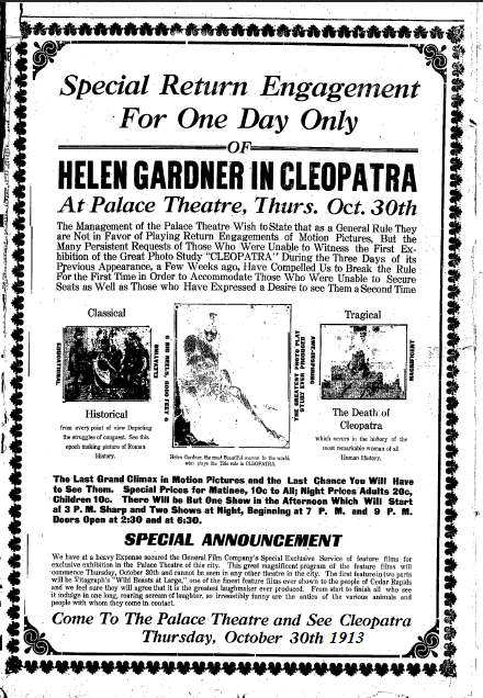 Palace ad for Cleopatra 1913