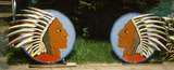 A Pair of Indian Chief signs from the Powhatan Theater.
