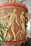Detail of large figurative urn salvaged from the Carolina Theater.