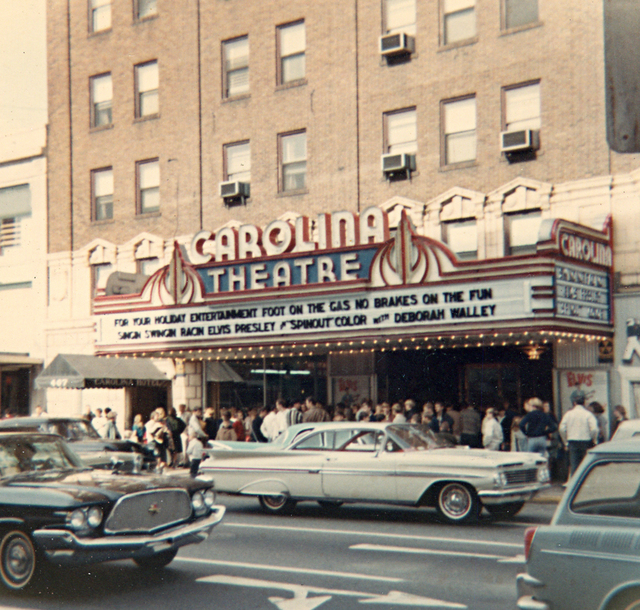 Early 1960's photo of Carolina Theater marquee.