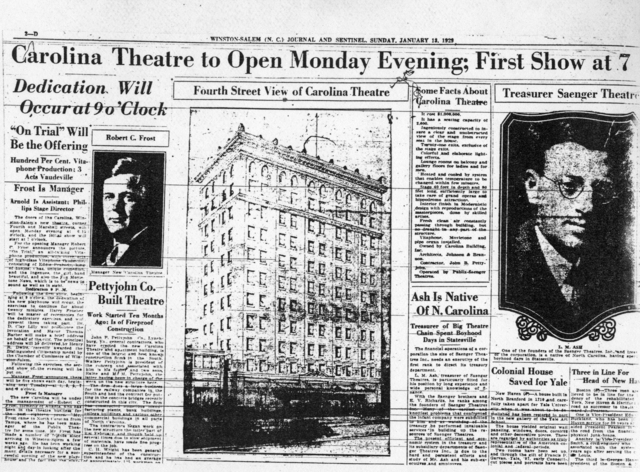 W-S Journal and Sentinel article announcing the opening of the Carolina Theater 1929