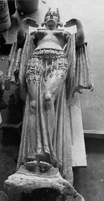 8 foot tall goddess statue from proscenium of the Carolina Theater