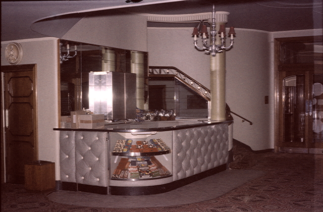 Refreshments Bar and one of the twin curving staircases (1950s).
