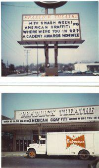 Marquee on Backlick Road and the theater in the Bradlick Shopping Center.
