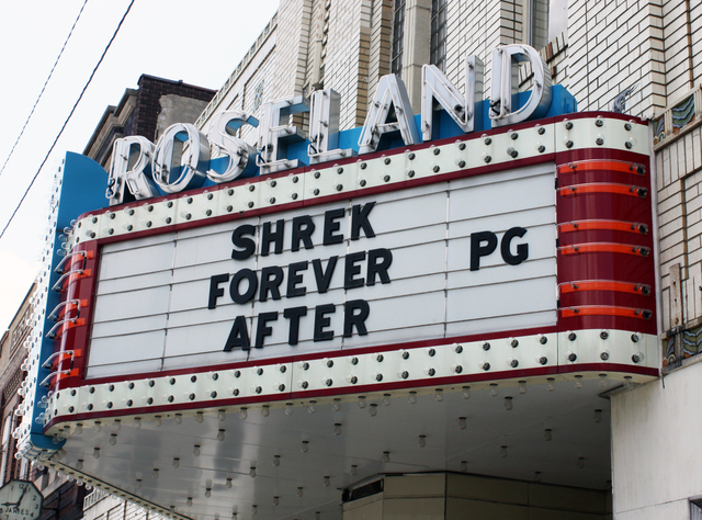 Roseland Theatre, Pana, IL - marquee