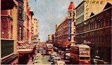 Postcard image of Rundle and Hindley Streets.