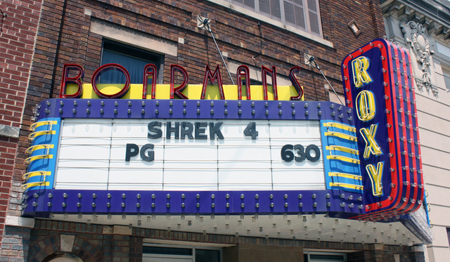 Boarman's Roxy Theatre, Shelbyville, IL - marquee
