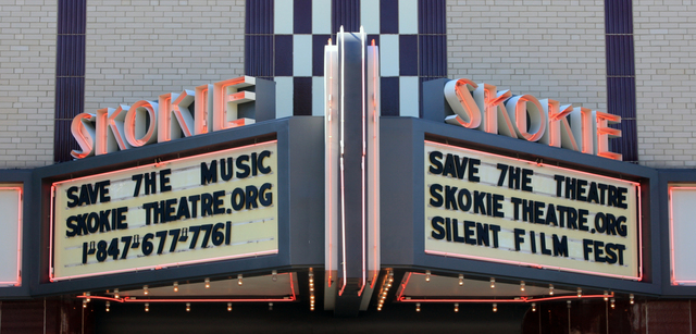 Skokie Theatre, Skokie, IL - marquee