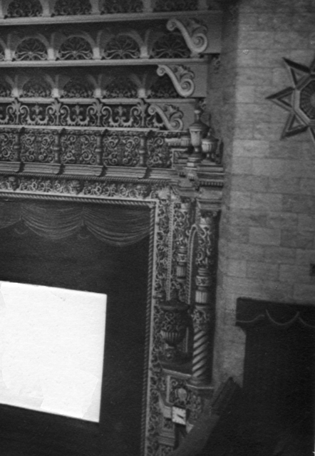 Detail to the right of the stage.