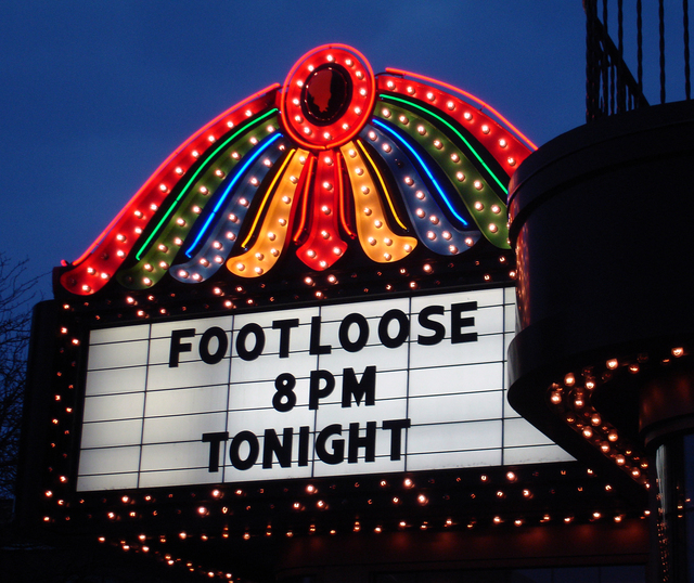 Genesee Theatre, Waukegan, IL - marquee at night