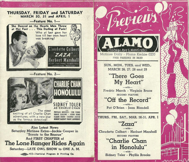 Alamo program flyer; March 1938