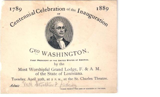 Invitation - Centennial Celebration of the Inauguration of - Geo Washington