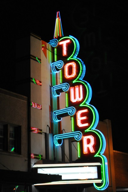 Restored Tower Theater sign, 2010