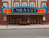 <p>The new marquee of the Embassy Theatre</p>
