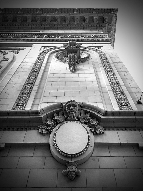 Detail of exterior decoration on the Coliseum Theater in Seattle, Washington.