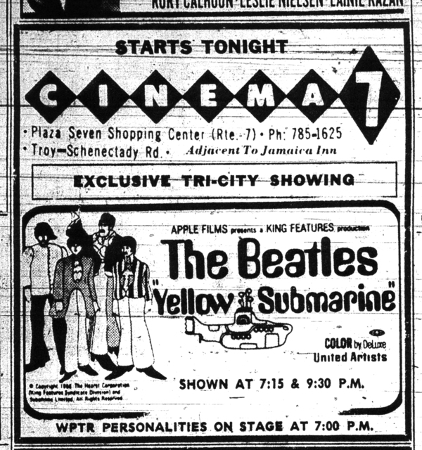 "Cinema 7 ""Yellow Submarine"" Advertisement, 1968"