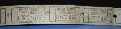 VENETIAN Theatre (Racine WI) tickets, 1960s.