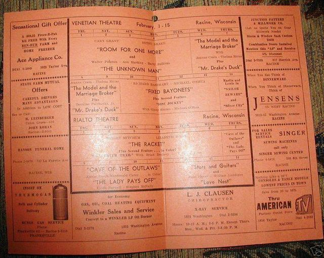 Combined VENETIAN and RIALTO Theatres program, 1951