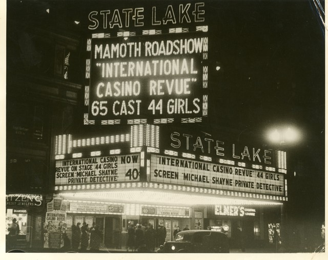 State Lake Theater marquee, Chicago, 1940