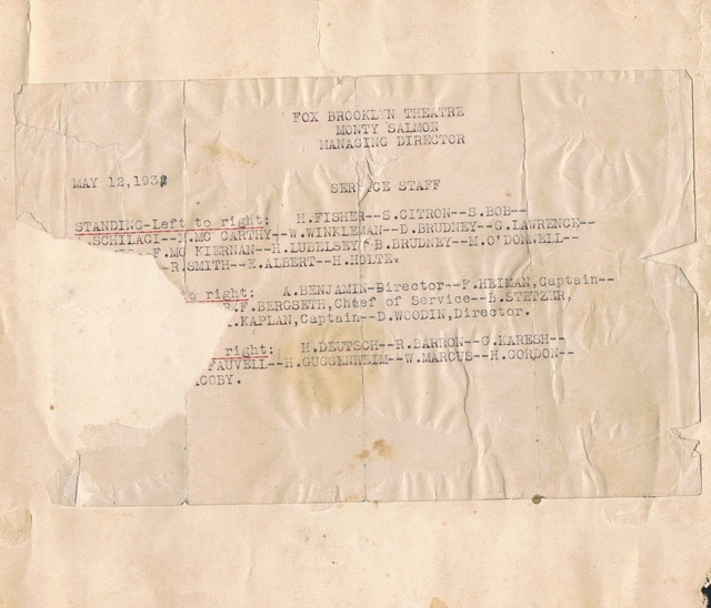 BROOKLYN FOX THEATRE STAFF 1931 or 1932 (read)