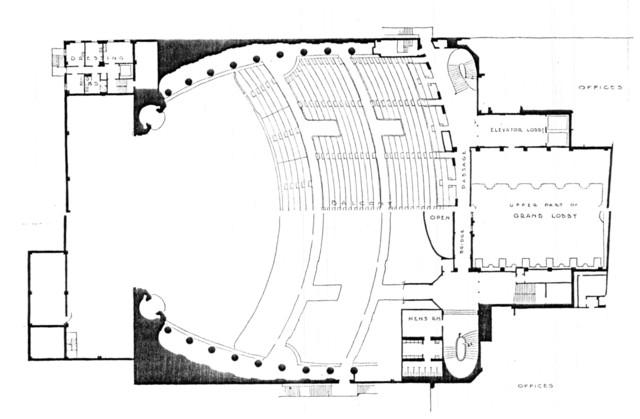 Fox Theatre, Detroit - Balcony Level Plan
