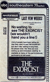 THE EXORCIST ad at PHIPPS PENTHOUSE theatre in Atlanta, Ga