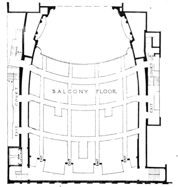 Paramount theatre, New York - Balcony Level Floor Plan