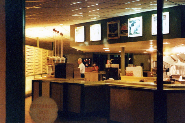NORTH 85 DRIVE IN THEATRE  a view of inside the concession stand at night