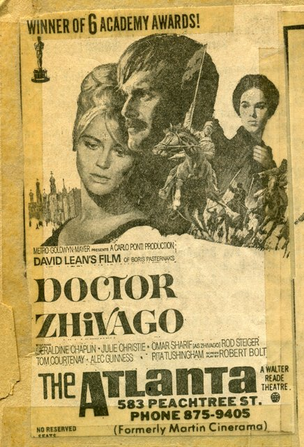 DOCTOR ZHIVAGO ad at the ATLANTA (formerly Martin Cinerama)