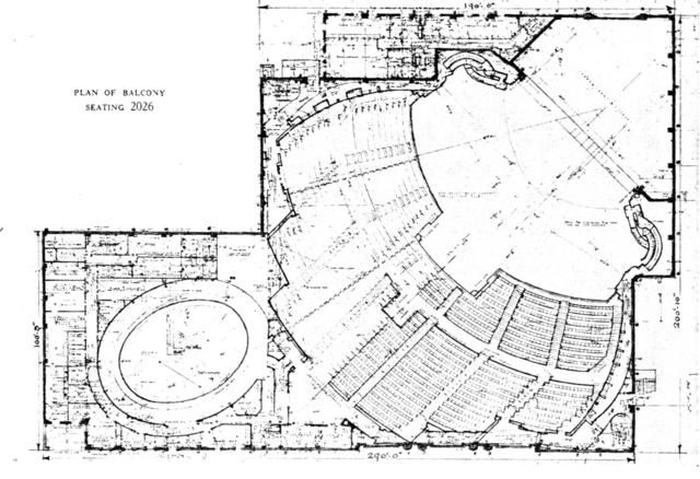 Roxy Theatre, New York - Balcony Level Floor Plan