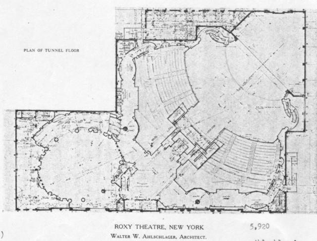 Roxy theatre, New York - Lower Balcony Level Floor Plan