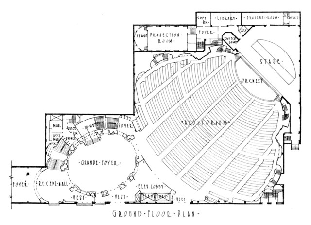 Roxy Theatre, New York - Orchestra Level Floor Plan