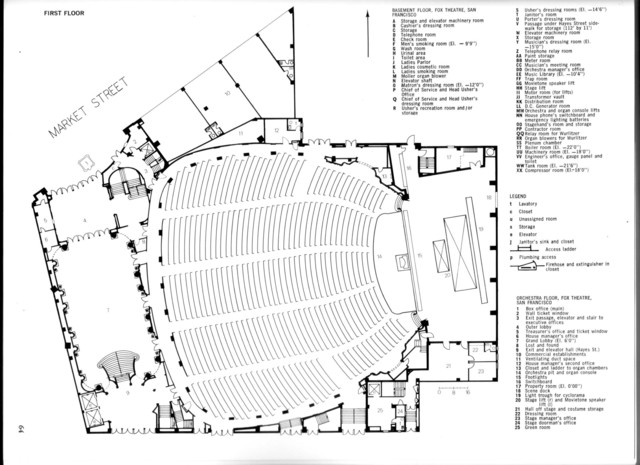 Fox Theatre, San Francisco - Orchestra Level Floor Plan