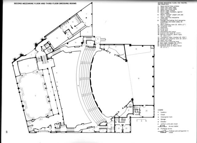 Fox Theatre, San Francisco - Lower Balcony Level Floor Plan