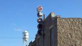 Globe Theatre sign and Bertram Water Tower