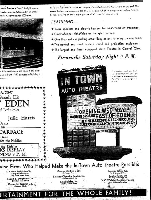 """Firms Who Helped Make the In-Town Auto Theatre Possible"""