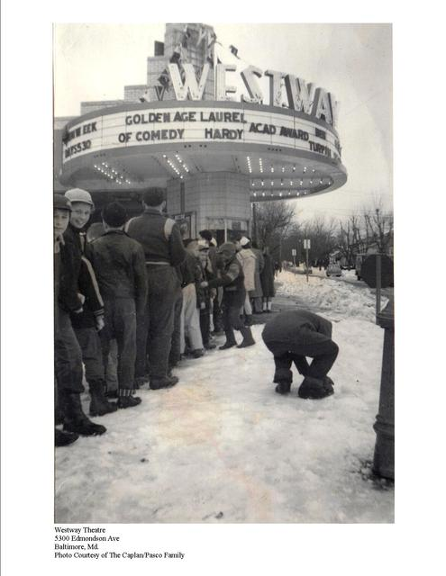 The Westway Theatre on a snowy day in the late 1950's